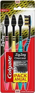 Colgate Cepillo Dental Colgate Zig Zag Charcoal 4 Piezas, Color, 4 Count, Pack Of aquete de