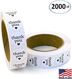 1 Inch Round Thank You Labels with Black Hearts, 1000 Stickers per Roll, 2 Rolls