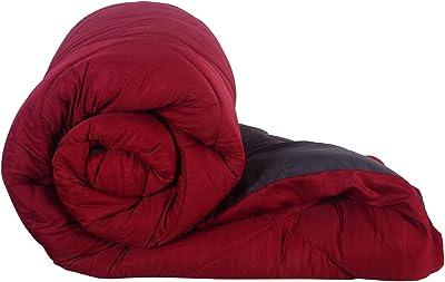 JaipurFabric Maroon-Grey Double Bed Comforter MicrofiberReversible Jaipuri Double Bed Comforter-250 GSM