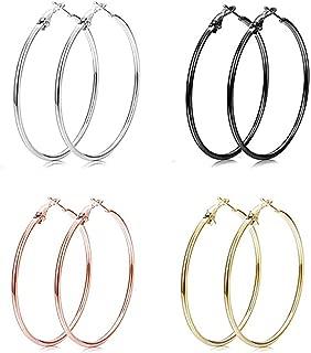 4 Pairs Endless Big Hoop Earrings,DJ Night Club Bar Round Circle Earrings for Women Girls(Gold,Silver,Rose gold,black)