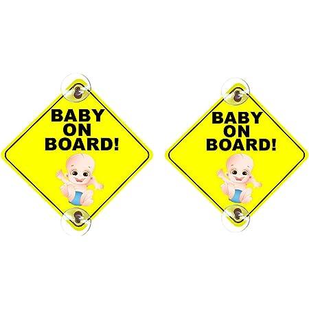 Infactory Car Sign Baby On Board Schild Baby On Board Mit Saugnapfbefestigung Pvc 135 X 135 Mm Baby Schilder Für Autos Baby
