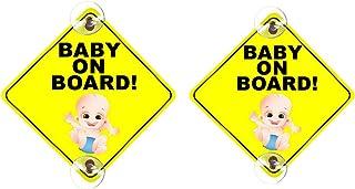 Danolt Baby an Bord Zeichen für Auto, 2 stücke Upgrade Reflektierende Kinder Sicherheitswarnaufkleber Doppel Saugnapf Vorsicht Aufkleber für Fahrer, Hitzebeständig, Kein Verblassen, Abnehmbare