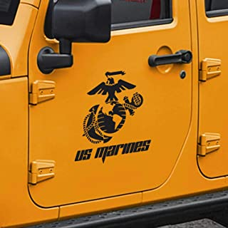 SkunkMonkey - Jeep Wrangler USMC Marine Corps Eagle Globe & Anchor (EGA) Door Decals TJ LJ JK JKU - Black Stickers - (Pair - Left and Right)
