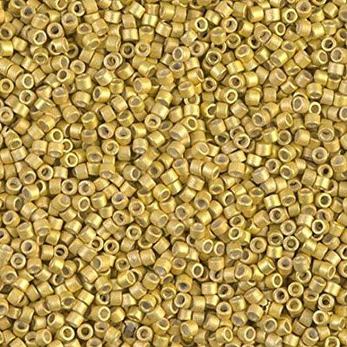 Lotto di 5 g di perline Delica 11/0 Miyuki galvanizzate semi opache, DB-1154, colore: Oro opaco