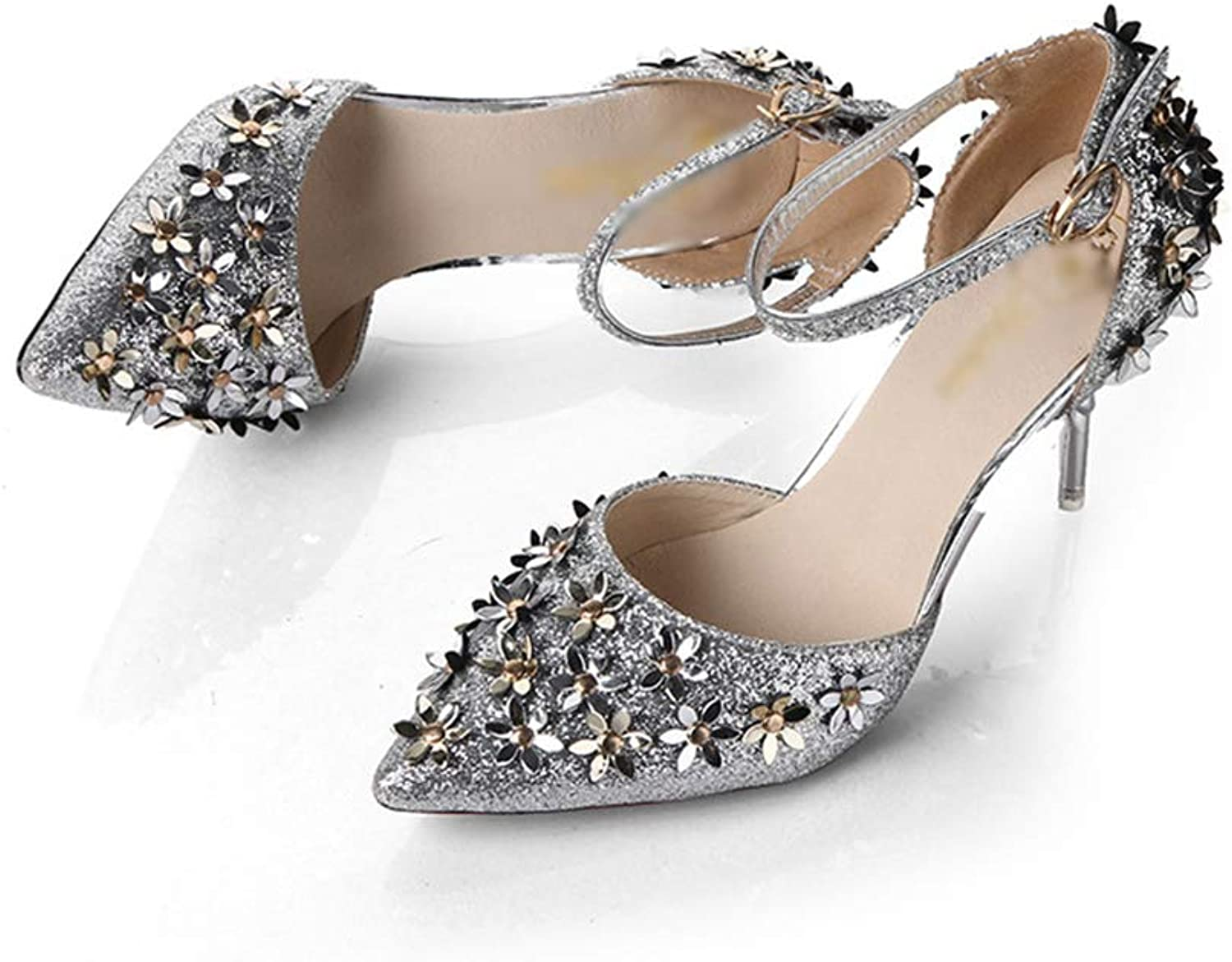 Women's Pumps,Sequin Flower Pointed-Toe Ankle Strap gold Silver Party shoes