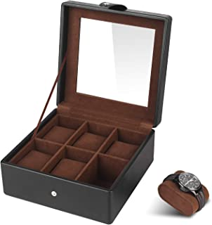 SHYOSUCCE Boîte à Montres avec 6 Compartiments, Fenêtre de Visualisation en Verre et Coussins Amovibles en Velours, Coffre...