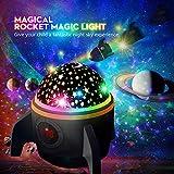 Amouhom Projektor Lampe, Raketenform LED Sternenlicht Projektor mit Fernbedienung 360°Rotation und Timing Sternenhimmel Nachtlicht für Kinderzimmer Deko Geburtstag, Weihnachten(Schwarz)