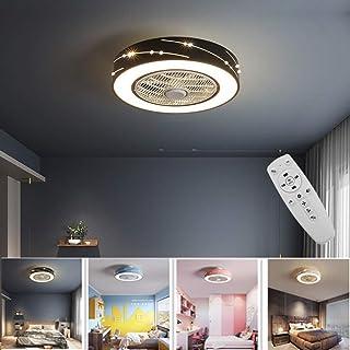 Ventilador De Techo Con Iluminación Luz Ventilador De Techo LED Invisible, Regulación Remoto De La Lámpara Del Techo Creativo Moderno Ultra Silencioso De Habitaciones Dormitorio Fan Lámpara,Negro