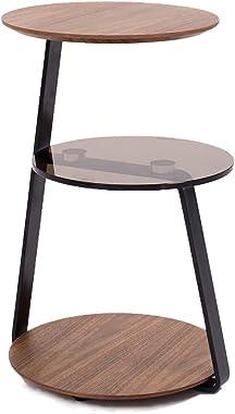 Marque Amazon -Rivet - Table d'appoint à 3 étagères, en noyer et verre, 39x39x58cm