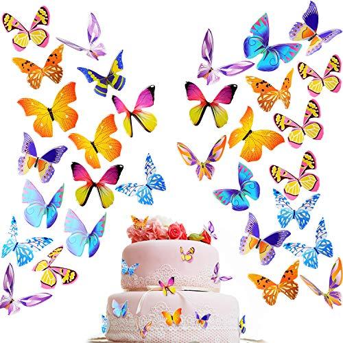 200 Stücke Schmetterling Kuchen Cupcake Toppers Party Kuchen Dekorationen für Geburtstagsfeier, Baby Shower, Hochzeit, Verschiedene Stile (Bunte Stil)