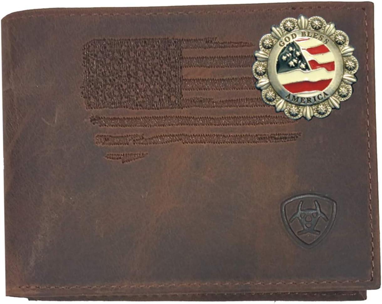 Custom God Bless America Distressed Stitched US Flag Bi-Fold Leather Wallet