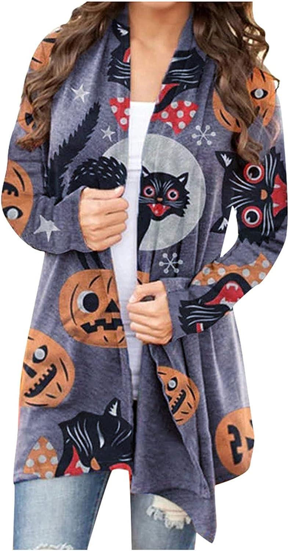 Halloween Tops for Womens Cat Pumpkin Pattern Cardigan Autumn Winter Long Blouse Open Front Coats