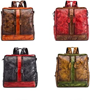 Bag for Women Fashion Individual Character Stitching Shoulder Bag First Layer Leather Leisure Travel Large Backpack Simple Wild Bag 31 (Long) * 32 (high) * 15 (Thick) cm (Color : Gray)