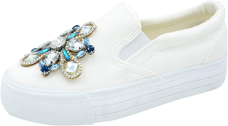 White Island 2019 Spring Autumn Canvas Woman Platform shoes Woman Slip On Women Rhinestones Loafers Women shoes,xjz0905white,8.5
