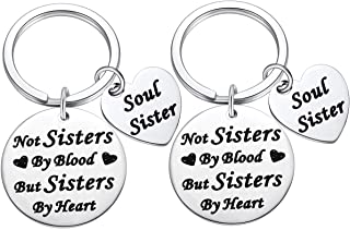 Unbiological Sister Gifts, Not By Blood but Sisters by Heart Keychain Soul Sister Keychain, Long Distance Best Friend Keychain Keyring for Bestfriend 2pcs