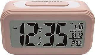 UNIAI [Upgrade Version] Battery Operated Alarm Clock - Electronic Bedside Alarm Clocks Smart Travel Battery Clock Large LCD Calendar Temperature Display