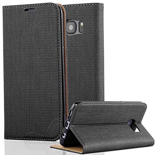 Cadorabo Samsung Galaxy S7 Funda de Cuero Sintético Rafia en Negro ÉBANO Cubierta Protectora Estilo Libro con Cierre Magnético, Tarjetero y Función de Suporte Etui Case Cover Carcasa Protección Caja