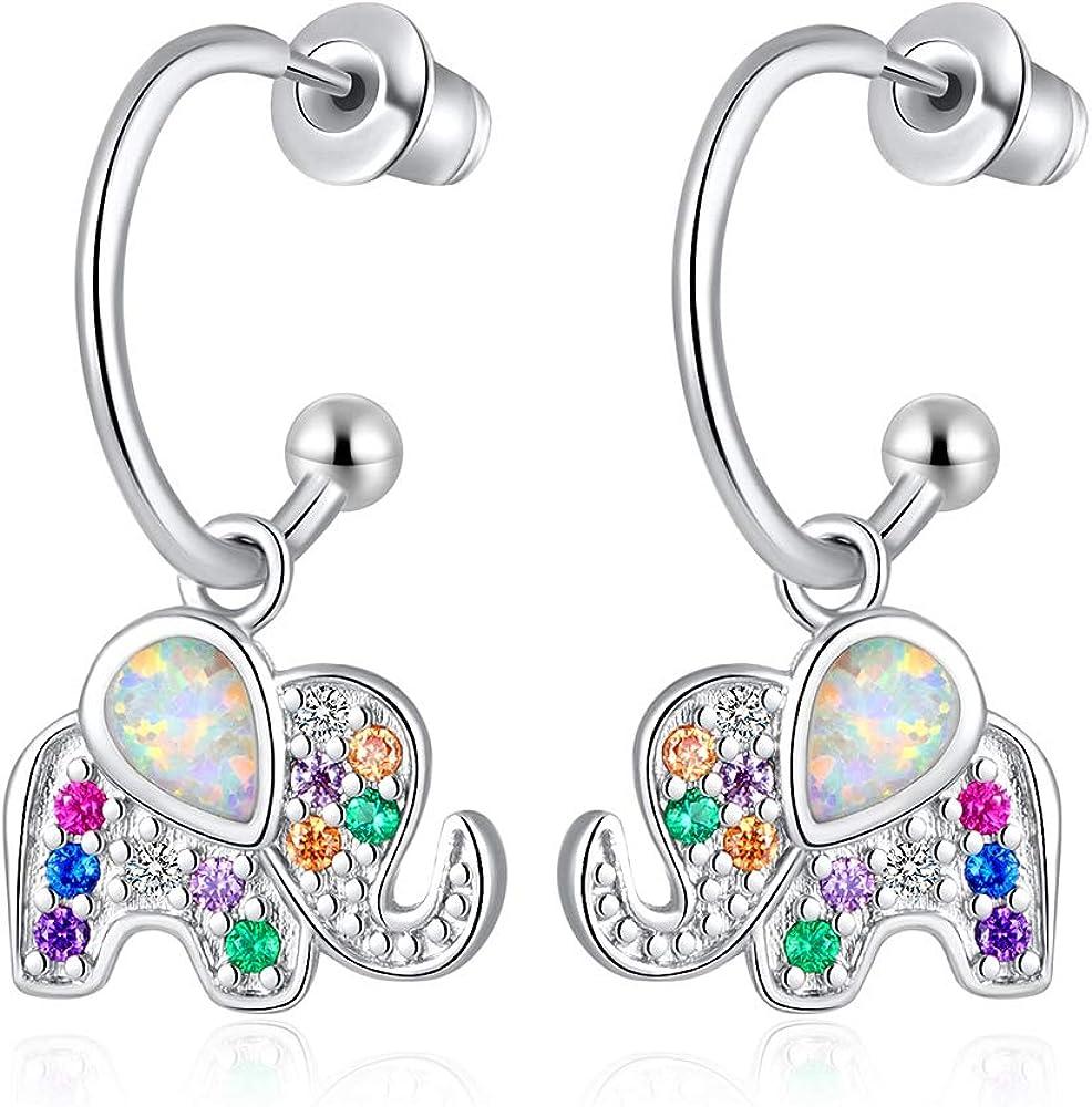 CiNily Elephant Opal Dangle Earrings Hypoallergenic 14K White Gold Plated Cubic Zirconia Earrings Tiny Small Hoop Earrings