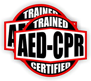 AED - CPR Trained Certified Hard Hat Sticker / Helmet Decal Label Lunch Tool Box