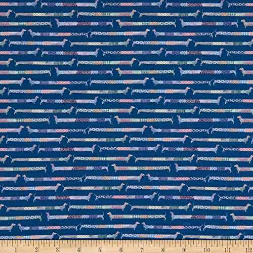 Marketa Stengl Double Brushed Stretch Poly Jersey Knit Sashiko Style Dachshund Colorful Navy/Pink Fabric by the Yard