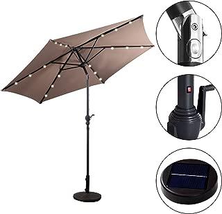 Sombrilla Solar con Luces LED de 2,7M Parasol Jardín de Metal con Manivela de Inclinación (Marrón)