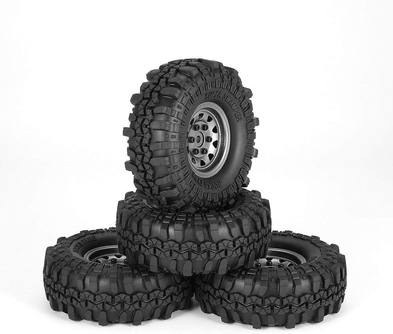 SHUANGCONG 4pcs 1.9in Rubber Tires Metal Wheel Rim for Traxxas TRX4 SCX10 D90 RC Car RC4 Grey Wheel