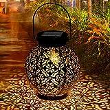 Lanterne solaire, Tencoz lumière solaire extérieure LED de jardin étanche, lanterne à énergie solaire suspendue en métal décoratif pour jardin, patio, cour et table