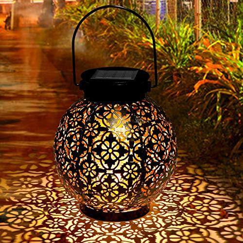 Solarlaterne Für Außen, Tencoz Garten Solarleuchten für Dekorative Metallhängende Atmosphäre LED Garten Hängende mit Laterne Wasserdicht IP44 für Rasen/Hof/Gehweg/Weihnachten (black)