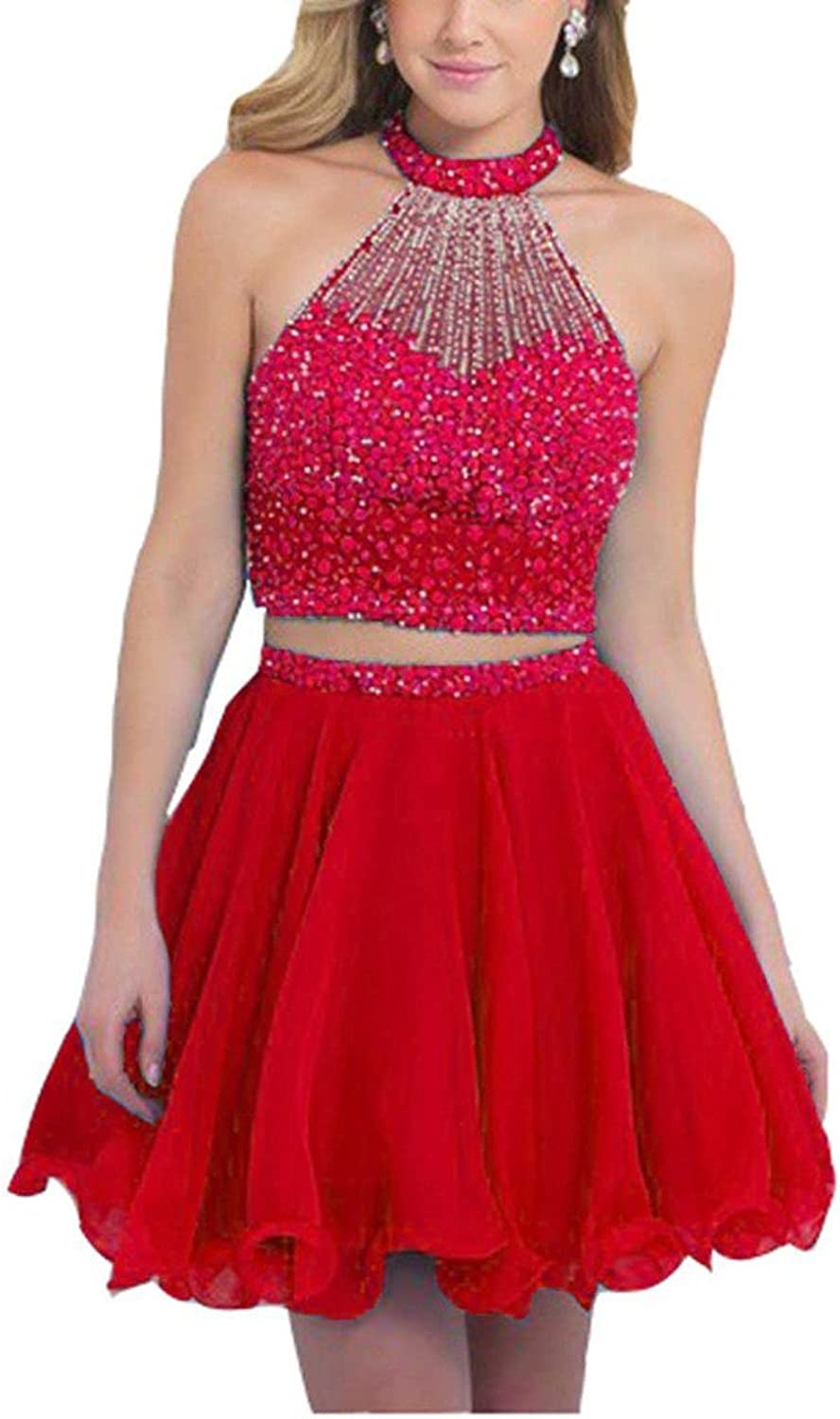 Dearta Women's Two Pieces Short Mini Jewel Crystals Homecoming Dresses