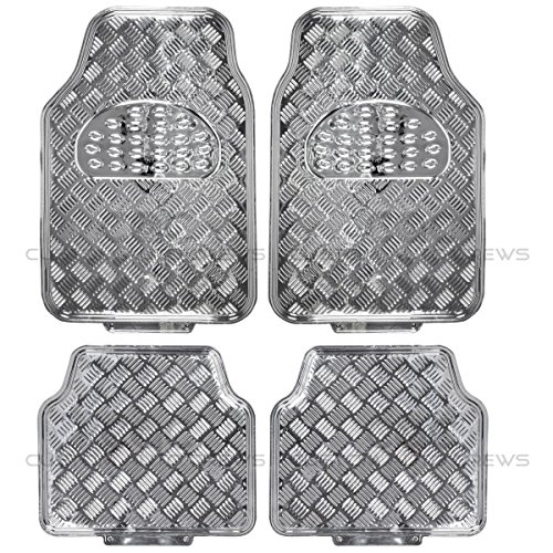BDK MT-641-SL Silver Universal Fit 4-Piece Set Metallic Design Car Floor Mat-Heavy Duty All Weather with Rubber Backing
