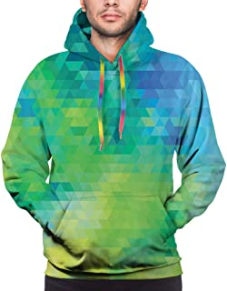 GULTMEE Men's Hoodies Sweatershirt,Geometric Abstract Pattern with Triangles Ombre Inspired,5 Size