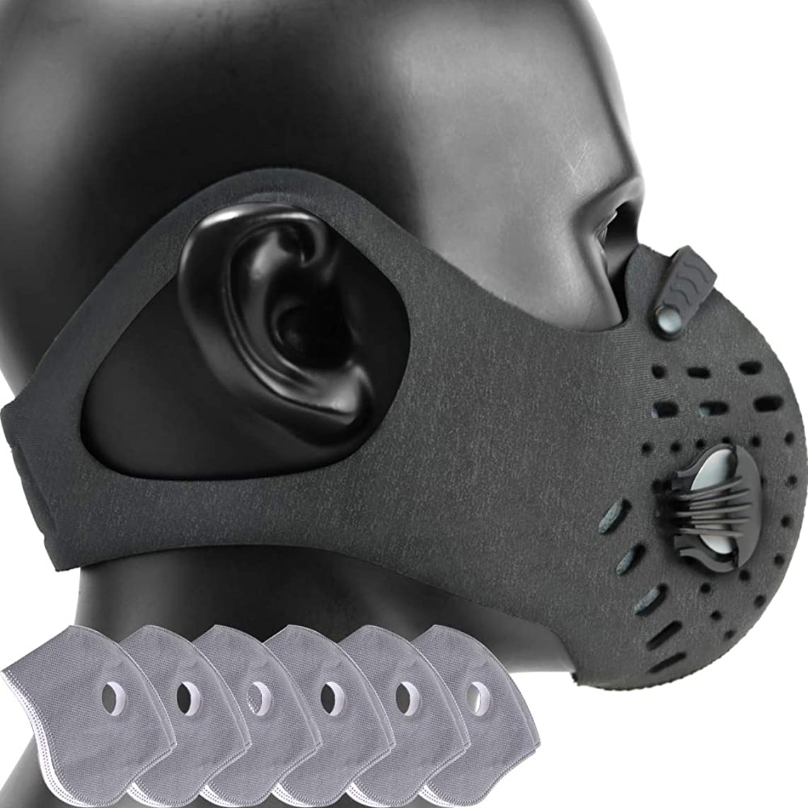 MONATA Reusable Dust/Pollution Mask with Activated Carbon Filter and Earloop For Woodworking House Cleaning Gardening and Outdoor Activities (1Gray0+6Filters)