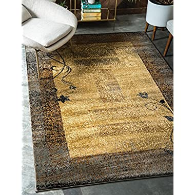 Unique Loom Barista Collection Casual Modern Basic Botanical Beige Area Rug (9' x 12')