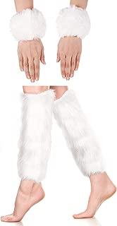 2 Pairs Faux Fur Cuffs Furry Long Leg Warmer Wrist Cuff Warmer Boot Cuff (White)