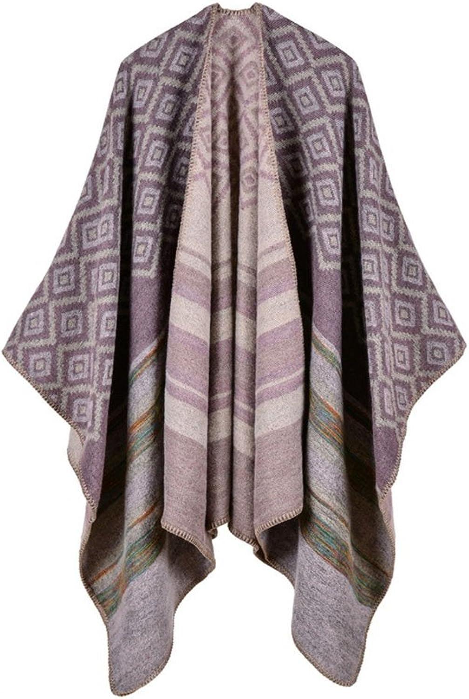 Lady's Shawl- Lady's Shawl Vintage Wrap Scarf Knitwear Tops Cloak Cape Poncho Diamond Shape color Bar Female Shawl Double-sided Wear Travel Cape Decoration ( color   6 )