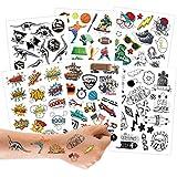 100 tatuajes para pegar - tatuajes infantiles para niños adolescentes - diseños para niños - como regalo de cumpleaños o idea de regalo - Vegano