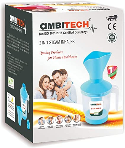 AmbiTech 2 In 1 Steam Vaporizer Nose Steamer Cough Steamer Nozzle Inhaler Nose Vaporiser Multi Coloured Made in India
