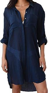 chuangminghangqi Copricostume Mare Donna Copribikini Costume da Bagno Camicia Bluse Lunga Cover Up Camicetta Estivo Copric...