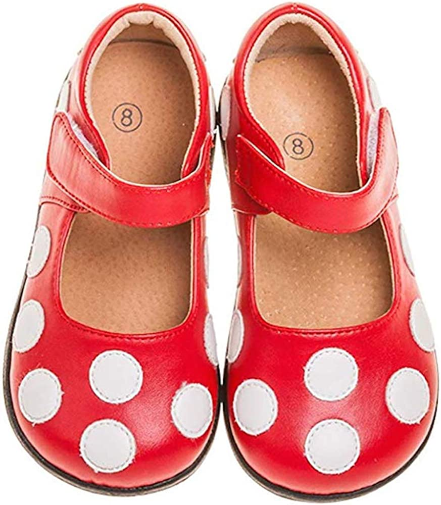 LilyPipSqueak Toddler Girl Squeaky Shoes Brown Pink Polka Dots Free Stoppers