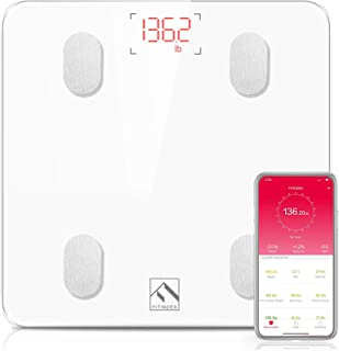 Bluetooth Body Fat Scale, FITINDEX Smart Wireless Digital Bathroom Weight Scale Body Composition Analyzer Health Monitor w...