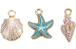 JETEHO 30pcs Mixed Gold Plated Enamel Ocean Theme Starfish Conch Shell Charm Pendant for DIY Jewelry Making and Crafting Accessories