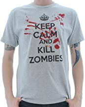 Crazy Dog T-Shirts Keep Calm and Kill Zombies T Shirt Outbreak Halloween Movie Gag Gift Bloody