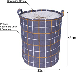 Krystal_wisdom Folding Collapsible Laundry Basket Large Capacity Drawstring Closure Laundry Hamper Canvas Storage Organizer with Handle Bin 1pc,A6,