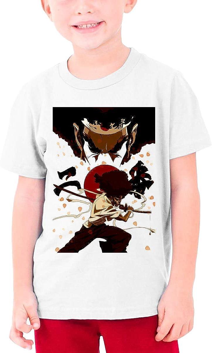 African Warrior Afro Samurai Boy's Girl's Cool Short Sleeve T-Shirt Kids Unisex Tee White