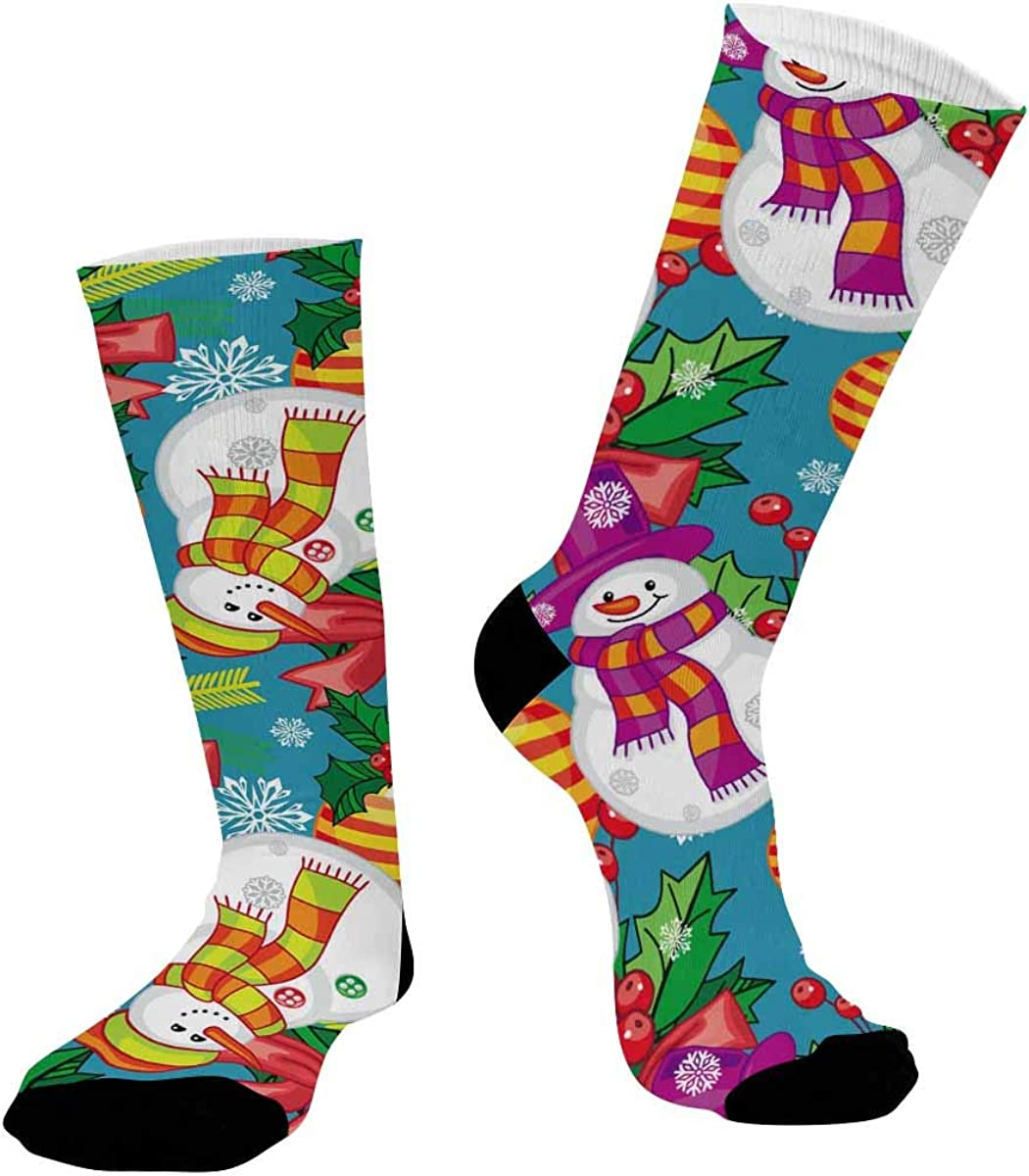 INTERESTPRINT Sublimated Crew Casual Athletic Socks Merry Christmas Snowman