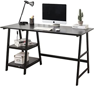 Soges 55 inches Computer Desk Trestle Desk Writing Home Office Desk Hutch Workstation with Shelf, Black CS-Tplus-140BK-N