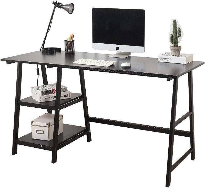 SogesHome Computer Desk 55inches Trestle Desk PC Desk Office Desk Workstation Writing Table With Shelf For Home Office Use Black DX 233 140BB SH