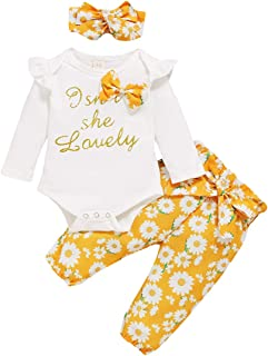 Newborn Infant Toddler Fall Outfit 3pcs Floral Clothes Sets Isn't She Lovely Print Ruffle Romper and Pants Headband