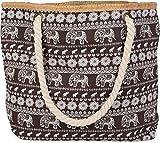 styleBREAKER Bolso para la Playa con Motivo étnico de Elefantes y Cremallera, Bolso de Hombro, Bolso de Tipo «Shopper», señora 02012063, Color:Marrón