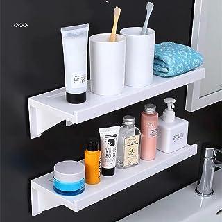 Susuba 吸盤 粘着式 浴室用ラック ホワイト約38.5×14×9cm 壁 棚 洗面所ラック ホルダー 収納ラック (2個)